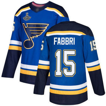Blues #15 Robby Fabbri Blue Home Authentic Stanley Cup Champions Stitched Hockey Jersey