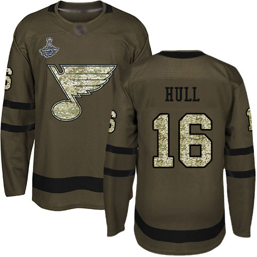 Blues #16 Brett Hull Green Salute to Service Stanley Cup Champions Stitched Hockey Jersey