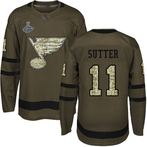 Blues #11 Brian Sutter Green Salute to Service Stanley Cup Champions Stitched Hockey Jersey
