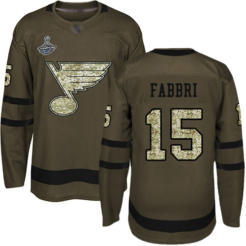 Blues #15 Robby Fabbri Green Salute to Service Stanley Cup Champions Stitched Hockey Jersey