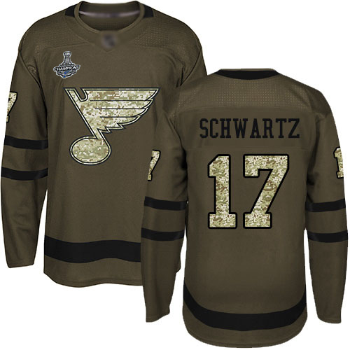 Blues #17 Jaden Schwartz Green Salute to Service Stanley Cup Champions Stitched Hockey Jersey