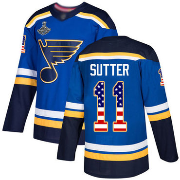 Blues #11 Brian Sutter Blue Home Authentic USA Flag Stanley Cup Champions Stitched Hockey Jersey