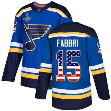 Blues #15 Robby Fabbri Blue Home Authentic USA Flag Stanley Cup Champions Stitched Hockey Jersey