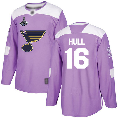 Blues #16 Brett Hull Purple Authentic Fights Cancer Stanley Cup Champions Stitched Hockey Jersey