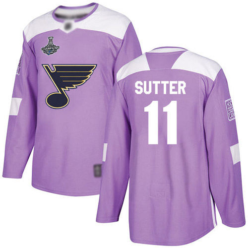 Blues #11 Brian Sutter Purple Authentic Fights Cancer Stanley Cup Champions Stitched Hockey Jersey
