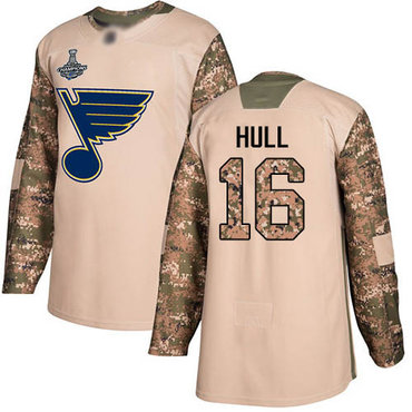 Blues #16 Brett Hull Camo Authentic 2017 Veterans Day Stanley Cup Champions Stitched Hockey Jersey