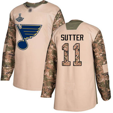 Blues #11 Brian Sutter Camo Authentic 2017 Veterans Day Stanley Cup Champions Stitched Hockey Jersey