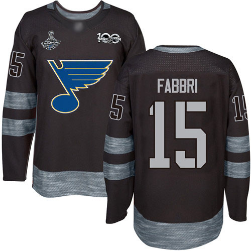 Blues #15 Robby Fabbri Black 1917-2017 100th Anniversary Stanley Cup Champions Stitched Hockey Jersey