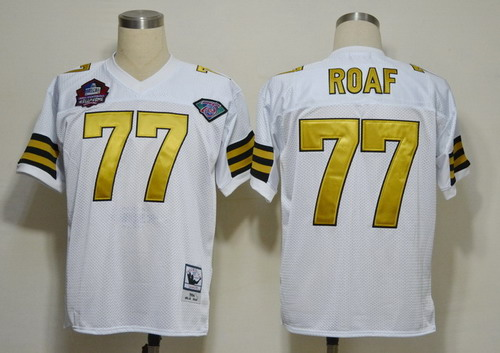 New Orleans Saints #77 Willie Roaf Hall of Fame White Throwback Jersey