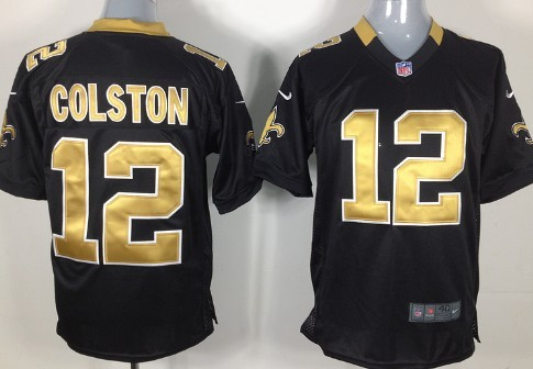 Nike New Orleans Saints #12 Marques Colston Black Game Jersey
