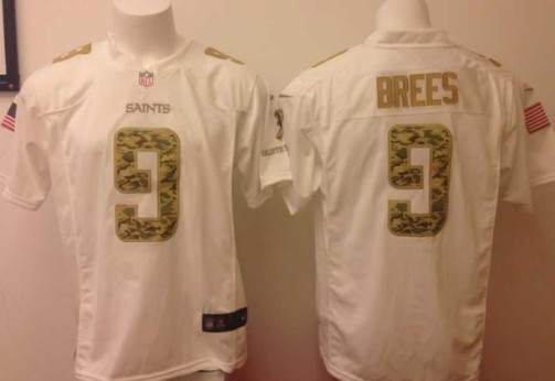 Nike New Orleans Saints #9 Drew Brees Salute to Service White Game Jersey