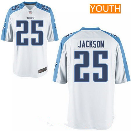 Youth 2017 NFL Draft Tennessee Titans #25 Adoree Jackson White Road Stitched NFL Nike Game Jersey