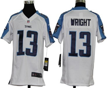 Nike Tennessee Titans #13 Kendall Wright White Game Kids Jersey
