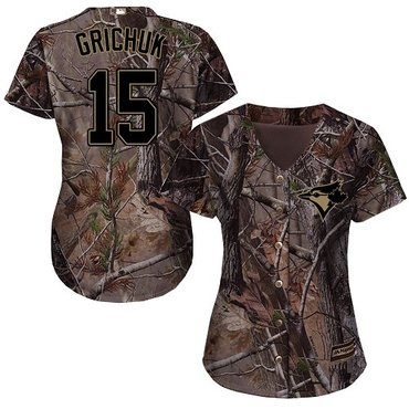 Blue Jays #15 Randal Grichuk Camo Realtree Collection Cool Base Women's Stitched Baseball Jersey